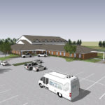 Artist Rendering of the new BVT Activities Building and Parking Lot